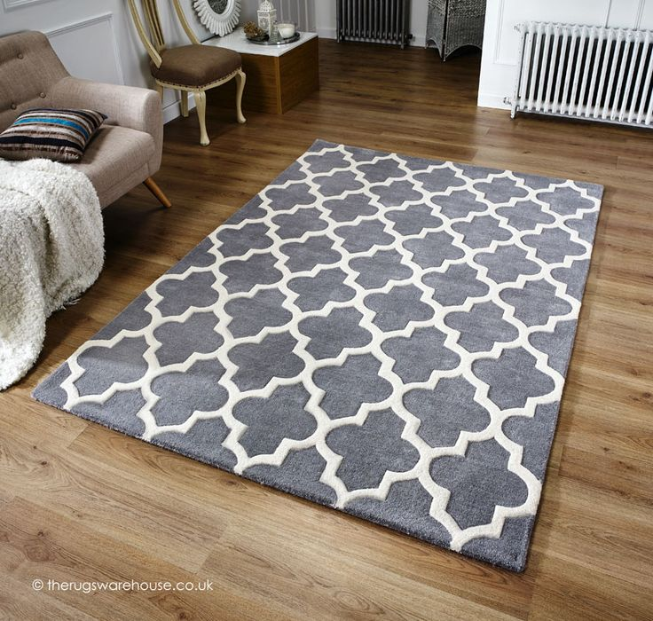 Arabesque Grey Rug A Thick Heavy Cream With High Low