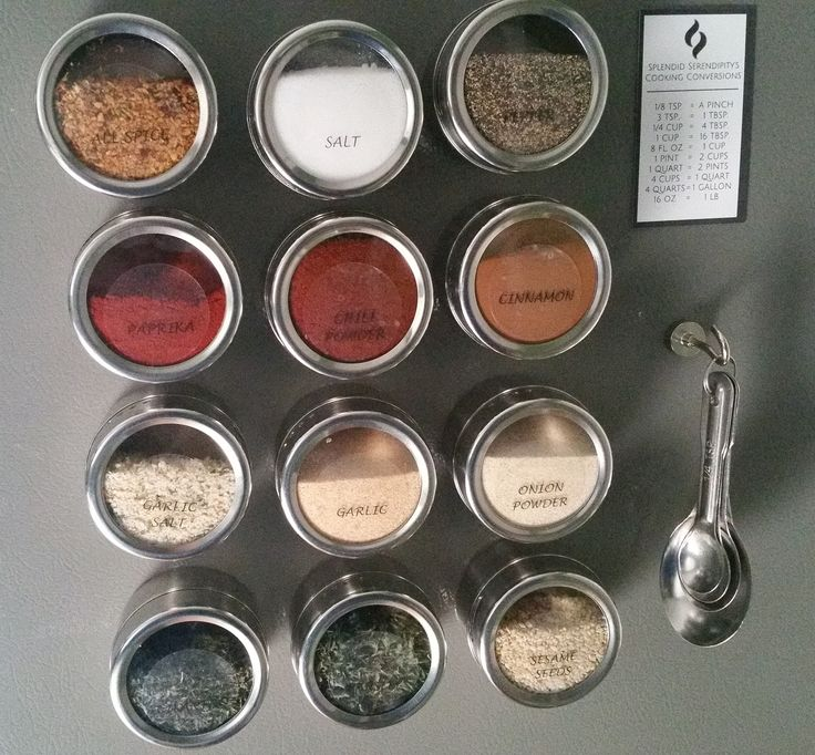 "12 large magnetic spice tins (3.4 oz. jars). Perfect for pouring, sifting or scooping spices while cooking. - 12""X12"" Stainless Steel Sheet for mounting on the wall, door or any other surface, if you"