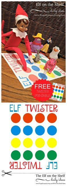 Elf on the Shelf Ideas   Elf Twister Printable on Frugal Coupon Living. FREE Twister Printable for Elf on the Shelf.