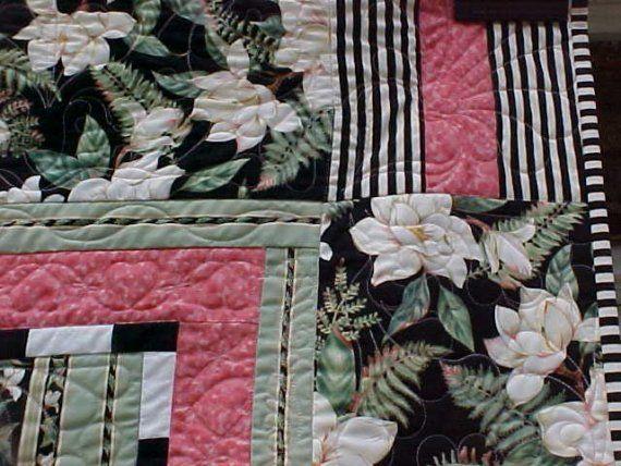 Quilt Magnolias Custom Quilted Queen Size 82 x 92 by kwiltykats