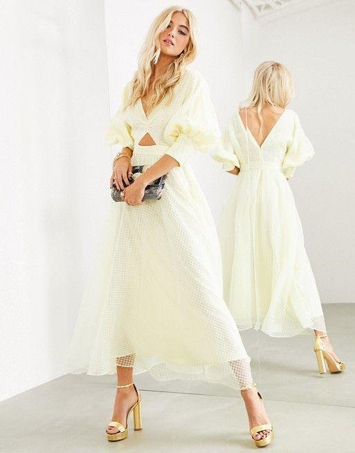 asos edition blouson sleeve midi dress in organza check asos