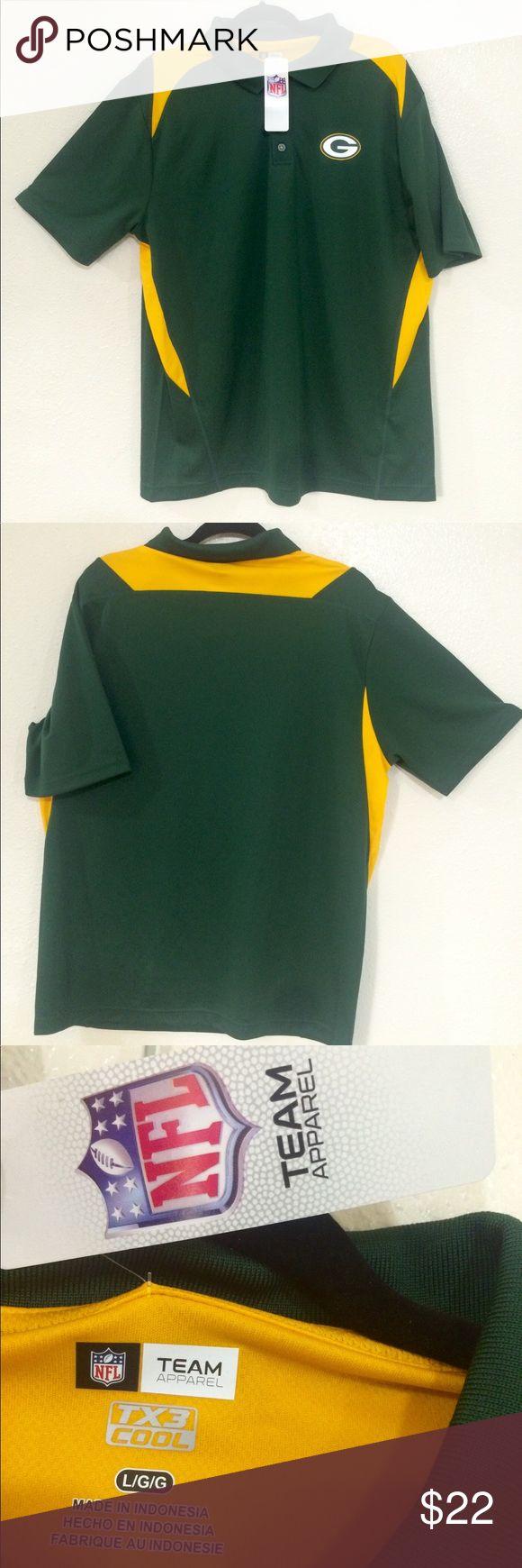Green Bay Packers Men Shirt • Original NFL Team Apparel • TX3 Cool Technology • 100% Polyetser  Approximate measurements Chest (Pit to pit): 22in Hem (Side to side): 20in Shoulder (hem to hem): 20in Length (back neckline to bottom): 30in NFL Team Apparel Shirts Polos