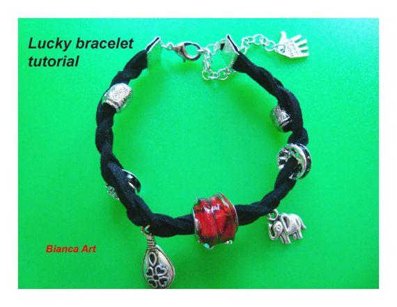 Lucky bracelet tutorial Jewelry tutorial Suede by BiancasArt