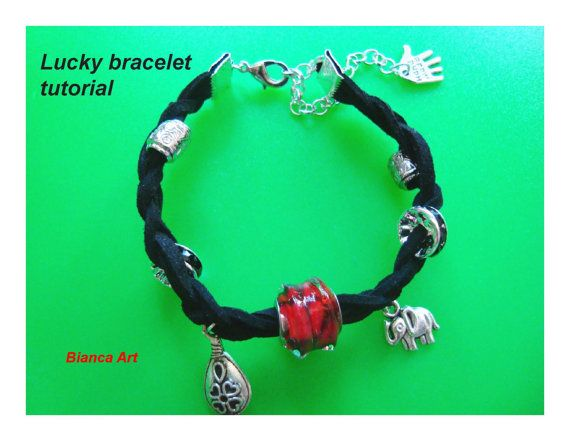 Lucky bracelet tutorial Jewelry tutorial Suede by BiancasArt