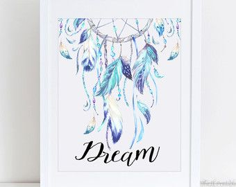 Items similar to Free and Wild Dream Catcher Printable, Tribal Wall Decor, Nursery Wall Art, Wild Quote Print, Feather Wall Art Printable, Watercolor Print on Etsy