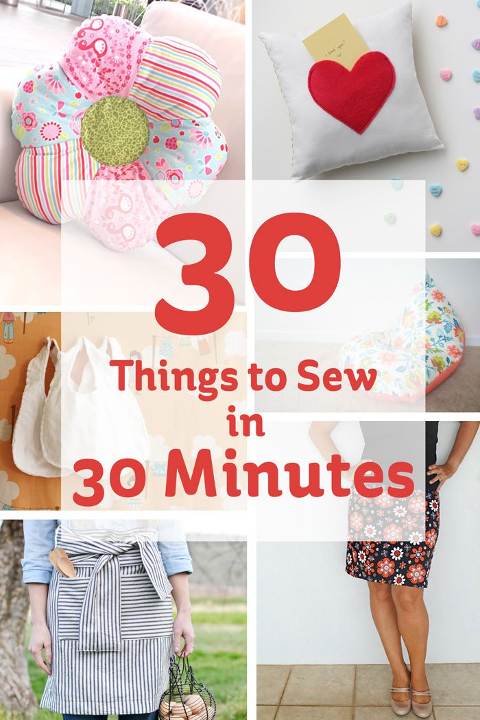 Keep it crafty ..♥♥..  with one of these quick 30 minute sewing projects, and you'll achieve something beautiful in no time at all!