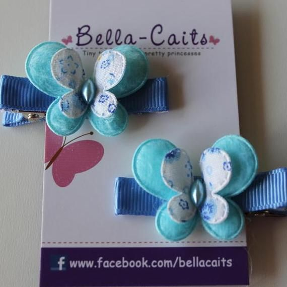 $2.50 Blue Butterfly Hair Clips by Bella-Caits on Handmade Australia