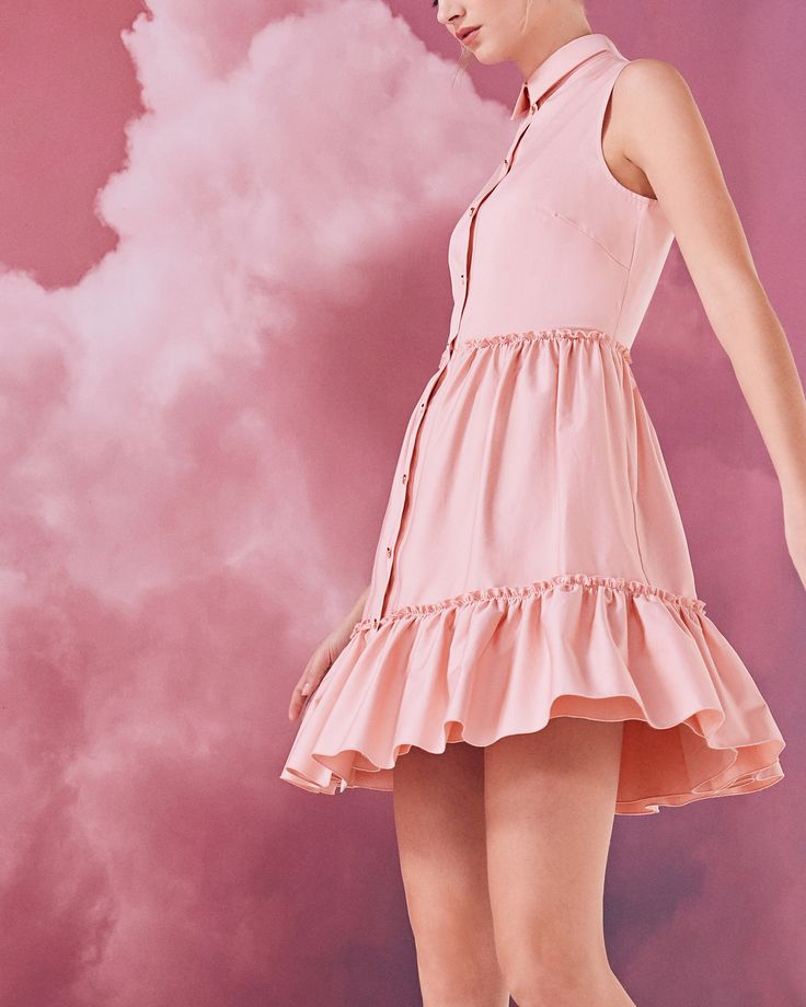 Sleeveless collared cotton-blend dress - Dusky Pink | Dresses | Ted Baker