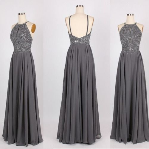 Grey Handmade Halter Backless Prom dress 2016, #greypromdresses, #promdress2016