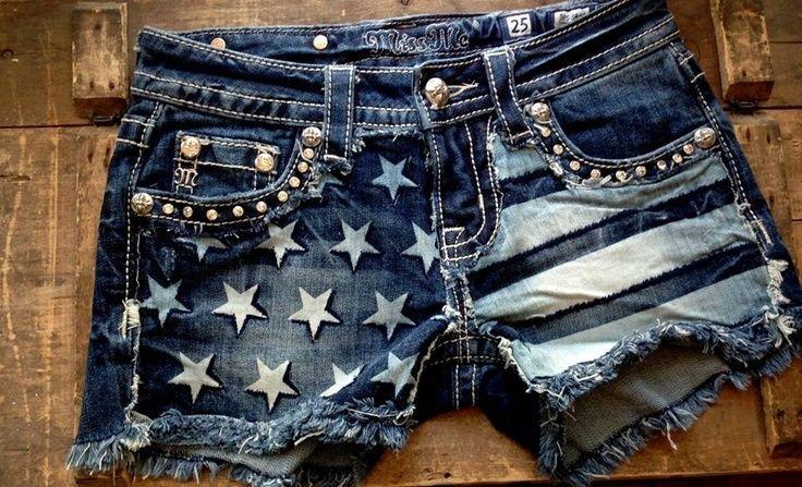 Miss Me Denim Jean American Flag Shorts Juniors size 3 #MissMe #Denim