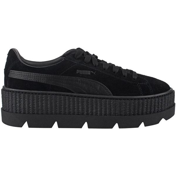 Fenty x Puma by Rihanna Cleated Creeper Suede Black // Plateau suede... ($185) ❤ liked on Polyvore featuring shoes, sneakers, puma creeper, creeper sneakers, black sport shoes, black sports shoes and black sneakers