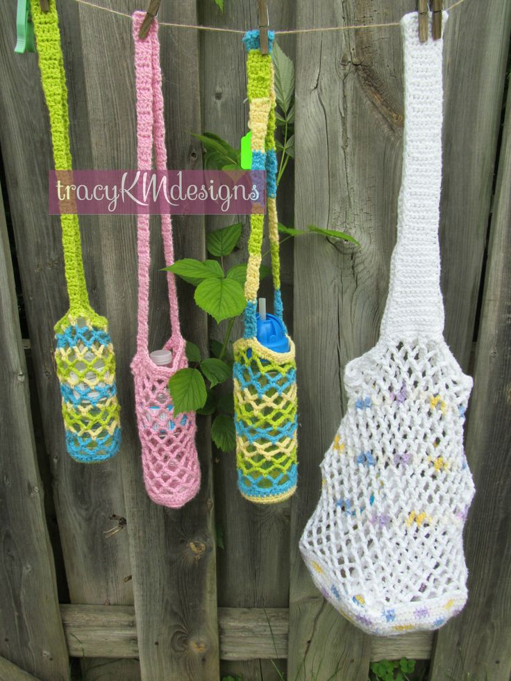 Crocheted water bottle holders.  Various sizes.  $7 each or 2/$12 plus shipping.  Market tote, $15