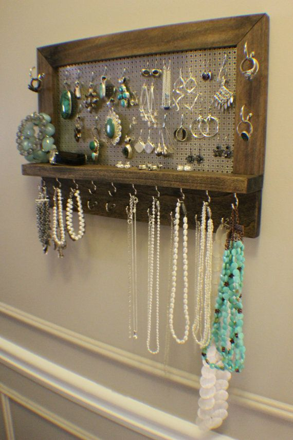 Amazing Ash Stained Wall Mounted Jewelry Organizer, Wall Organizer, Jewelry  Display, Necklace Holder - 463 Best Jewelry Organizers Images On Pinterest