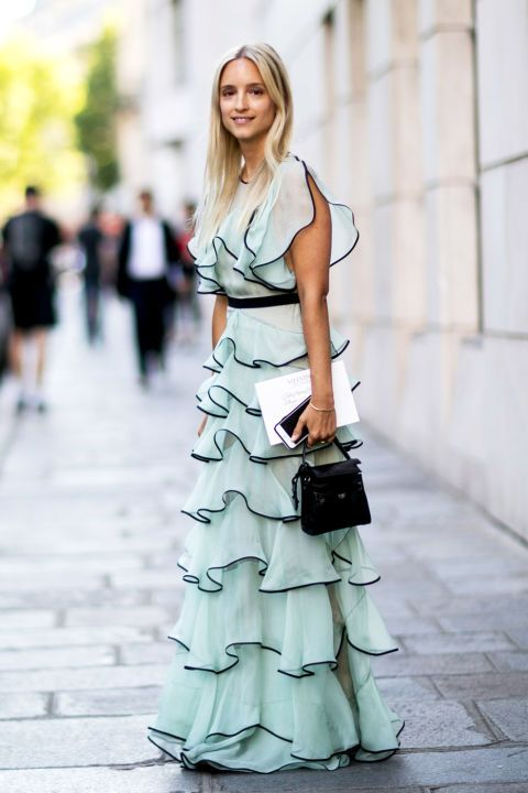 Fashion blogger Charlotte G. of Fashion Guitar wearing a light blue and black ruffled gown and a mini black satchel at Fall 2016 Paris Couture Week.