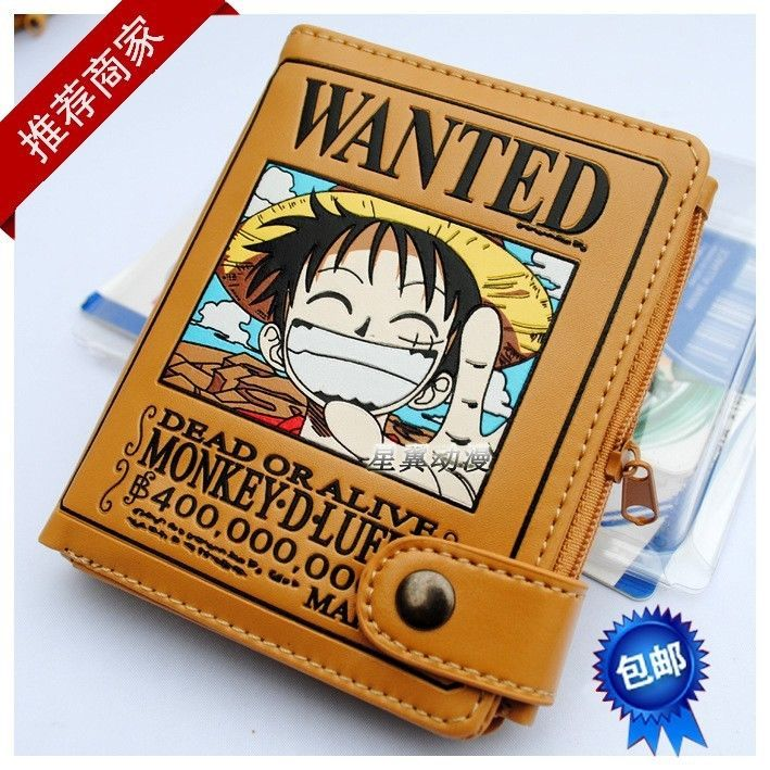 Japan Anime One Piece Monkey D Luffy Pirate Wanted Cosplay Leather Wallet Purse