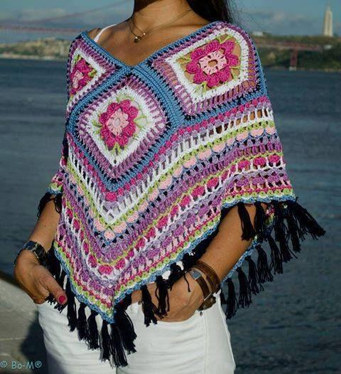 crochet poncho really pretty! #crochet poncho #crochet