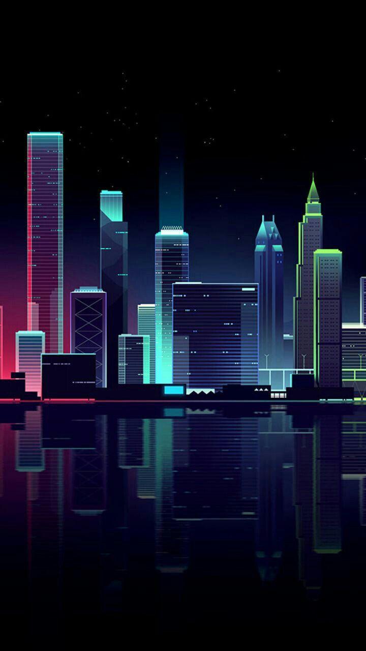 Nuit Sur Les Lumieres De La Ville Cityscape Wallpaper Neon Wallpaper Scenery Wallpaper