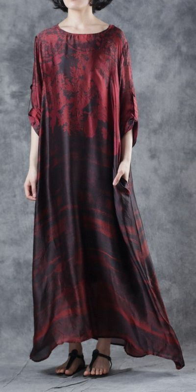 84b28d40b1ce Loose Red And Green Maxi Dresses Women Casual Summer Clothes W3206 ...