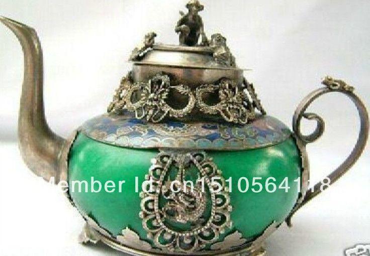 arte antiguo de plata tibet tetera de jade en de en Aliexpress.com