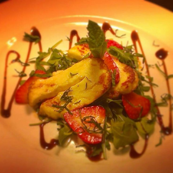 Halloumi, mint, strawberry balsamic salad. Super summer starter