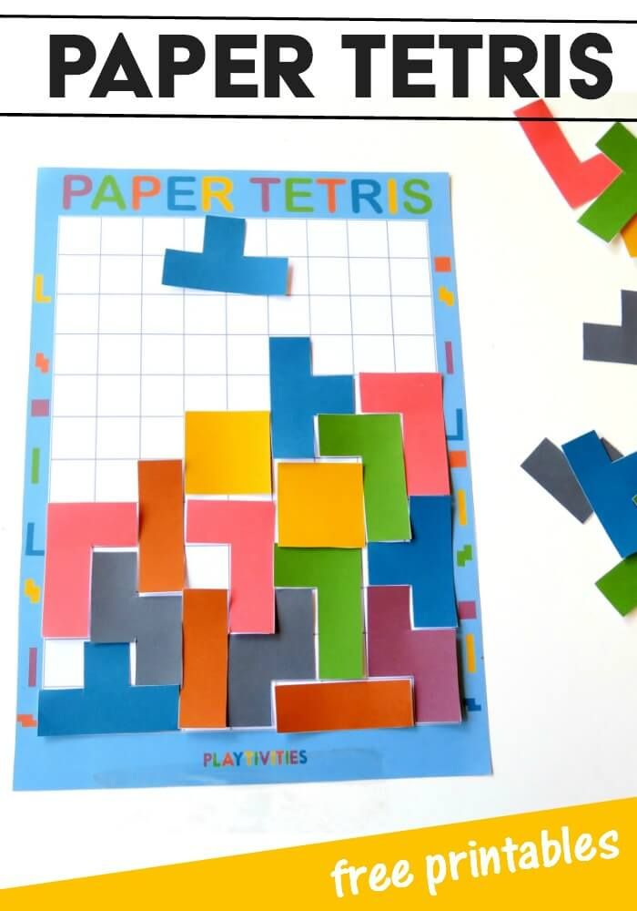 Put the tablets away and play Tetris on paper. Use this free printable for a fun game for kids (and adults!).