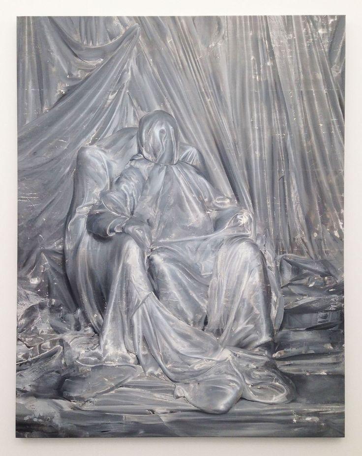 "Mircea Suciu, ""Iron Curtain"" (2015), oil, acrylic, and mono print on linen, 156 x 121.8 cm at Zeno X Gallery"