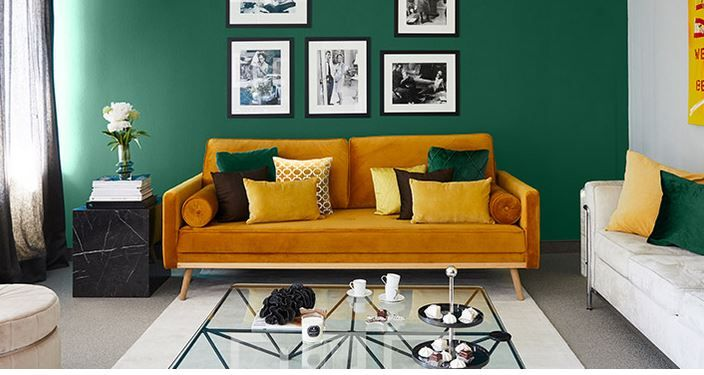 Westwing Now Kussens Geel En Groen Interieur Woonkamer Interieur Groene Bank