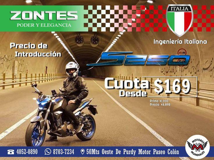 ¡Venga YA por su Moto Zontes S250 a Precio de Introducción! Para Información adicional dar clic en el botón de visitar