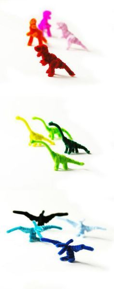 DIY: Pipe cleaner dinosaur! These colorful dinosaur can be made with a pipe cleaner by hand without tools.