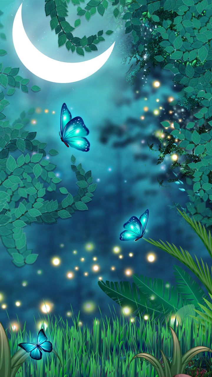 Magical Butterflies Dreamy Colors Butterfly Night Neon Blue