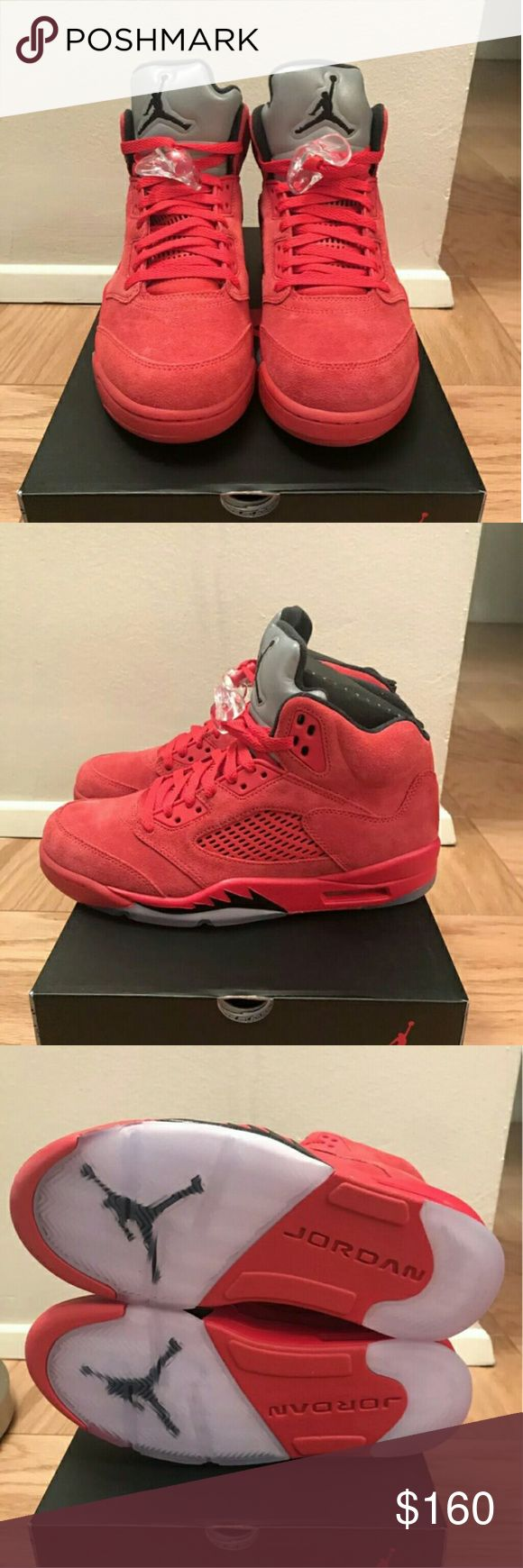 Jordan 5s Red Suede Brand new retro Jordans 5s ,100% authentic,  smooth suede material,  comes with original box and receipt, different sizes available Jordan Shoes Sneakers