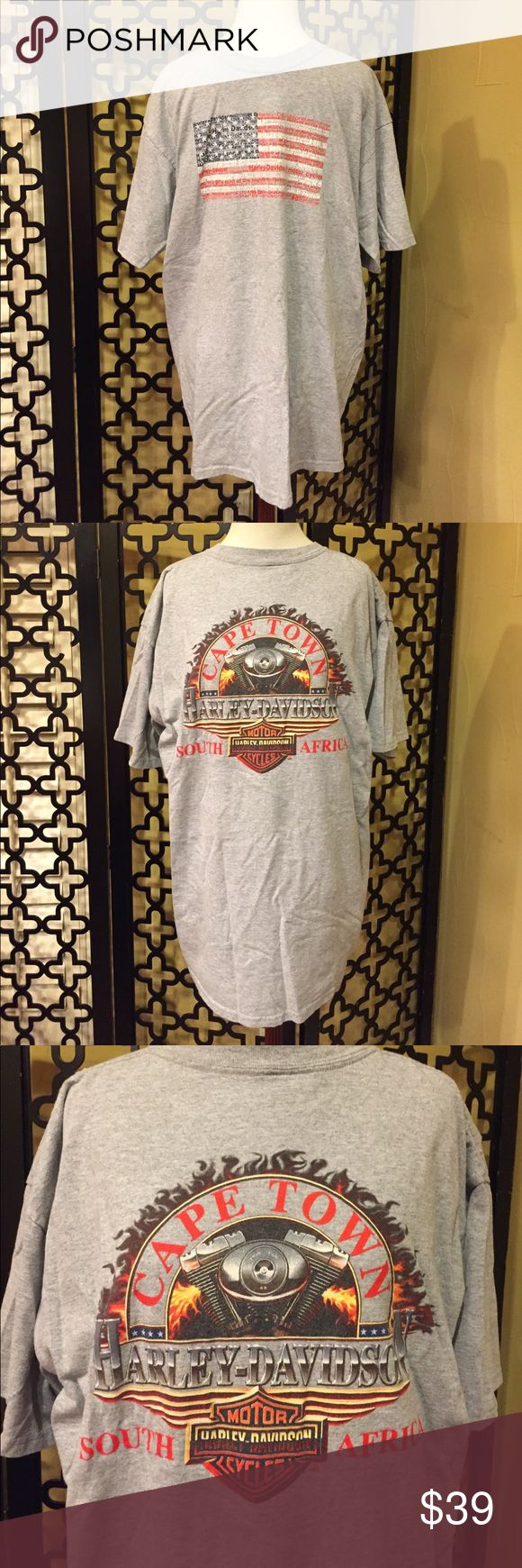 "HARLEY DAVIDSON CAPE TOWN S. AFRICA GRAY SHIRT EUC!                                                                                         No flaws!                                                                                  Front has American flag with made up of the ""Harley Davidson"" and the back has printed ""cape town Harley Davidson and South Africa"".                                                                                            Measurements: 30in long, 40in chest and…"