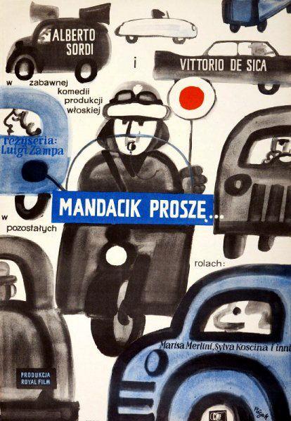Vintage movie poster 1962 by Jerzy Flisak: Mandacik prosze...