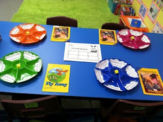 Identifying story elements, a first grade center. Roll the dice and record.