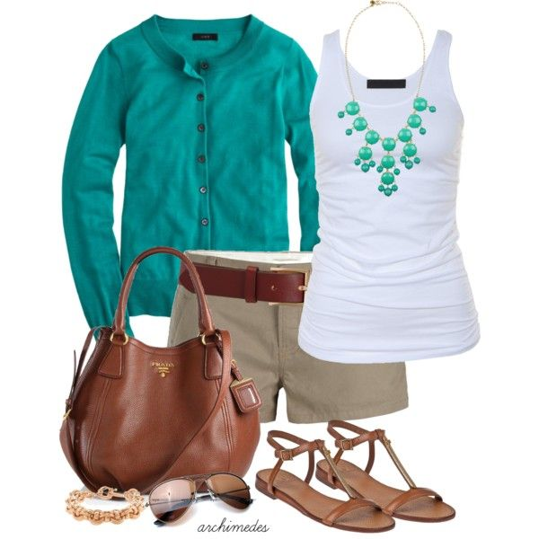 Tan pants, white tank, teal/turquoise cardigan, teal/turquoise bubble necklace, nude sandals