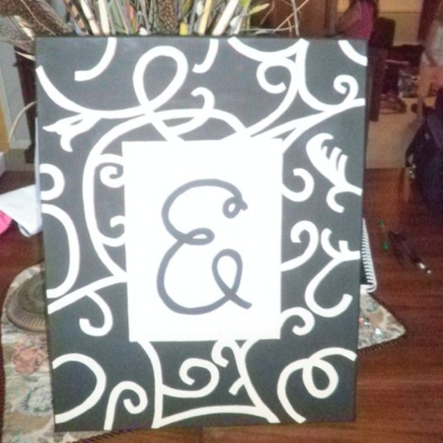 : Painting Ideas, Swirl Canvas, Initial Swirl, Crafts