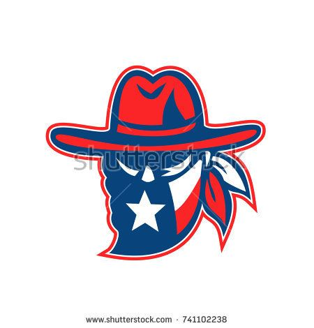 Retro style illustration of a mascot showing a Texan outlaw or bandit wearing bandana with Texas Lone Star flag on isolated background.  #outlaw #retro #illustration