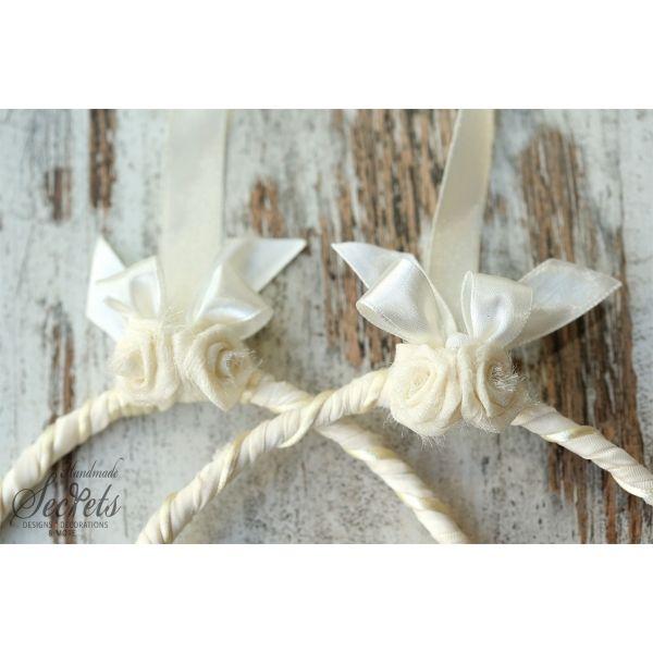 Στέφανα γάμου vintage με ύφασμα & λουλουδάκια υφασμάτινα