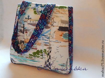 """Сумка """"Морская - синяя"""" - синий,рисунок,синяя,сумка летняя,сумка женская"""