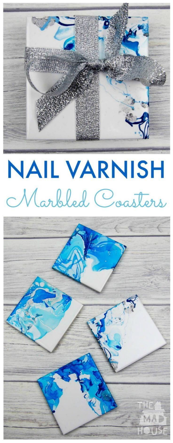 How to make Nail Varnish Marbled Coasters. These beautiful marbled coasters are beautiful as so simple to make. A great homemade gift and DIY craft #creativecoasters
