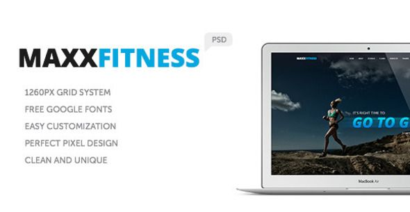 Maxx Fitness PSD Template . Maxx has features such as High Resolution: No, Layered: Yes, Minimum Adobe CS Version: CS, Pixel Dimensions: 1920x1080