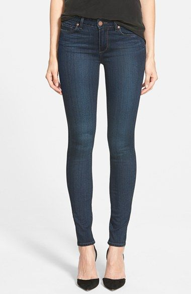 Free shipping and returns on PAIGE 'Transcend - Verdugo' Ultra Skinny Jeans (Clark) at Nordstrom.com. Golden brown topstitching and coppery hardware accent the dark indigo wash of mid-rise skinny jeans with exceptional outfit versatility.Using the latest in performance-fiber technology, TRANSCEND denim redefines luxury, recovery and comfort with a fabrication that provides a flawless fit without stretching out.