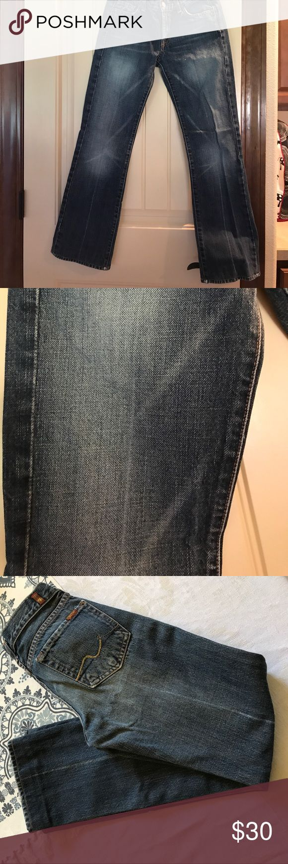Seven for all mankind bootcut jeans Seven for all man kind woman size 26 bootcut jeans, inseam is 28 inches, bootcut opening 7 inches, lightly distressed, great condition, close up picture shoes the wash closet up Seven7 Jeans Boot Cut