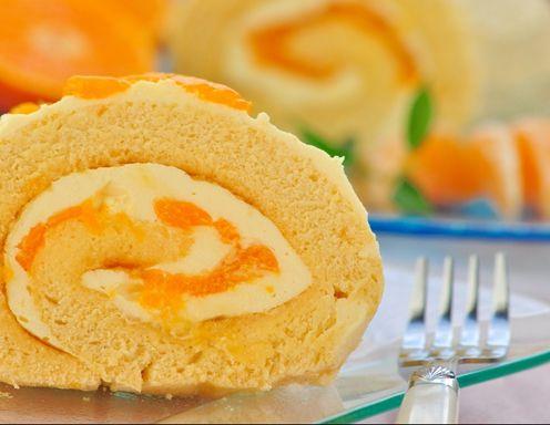 Piškótová  roláda  s  mandarínkovým  krémom