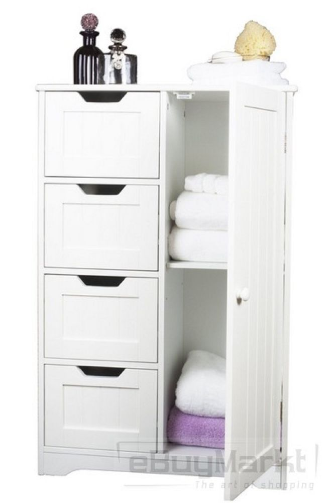 Bathroom Tallboy Bedroom White Shelves Wooden Storage Drawer Cupboard Cabinet