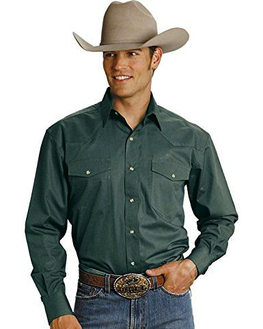 103e44fc Roper Men's Amarillo Collection Western Shirt Hunter Green XX-Large ...