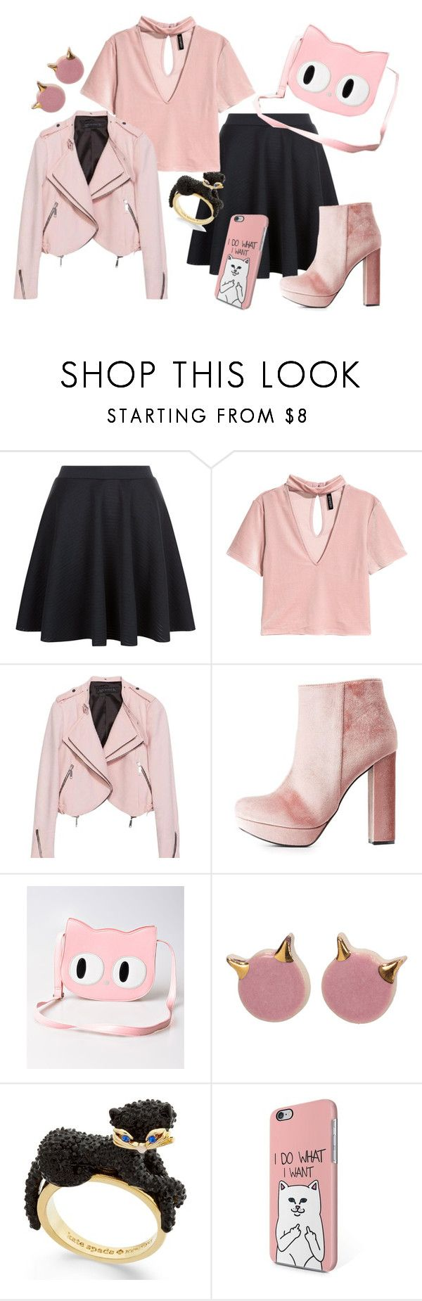 """""""Im with the cat"""" by forgetrules ❤ liked on Polyvore featuring Charlotte Russe, Banned and Kate Spade"""