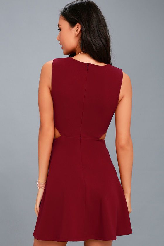 Toast to You Wine Red Cutout Skater Dress  94c98b20a6