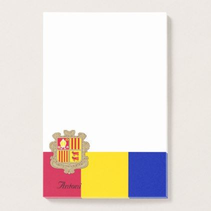 #Personalized Flag of Andorra Blue Yellow Red Post-it Notes - #office #gifts #giftideas #business