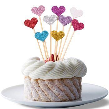 10 ps Brilho Do Amor Do Coração Do Bolo de Casamento Topper Lembranças da Festa de Aniversário Decoração Artesanal Invólucro Congelado Peças Centrais Do Chuveiro de Bebê